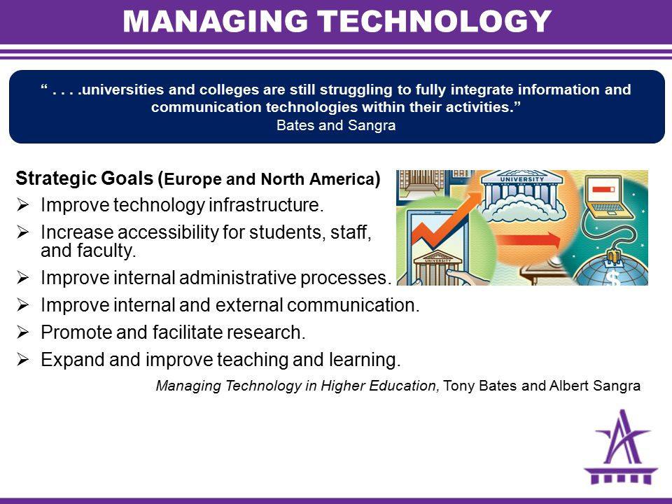 MANAGING TECHNOLOGY Strategic Goals ( Europe and North America )  Improve technology infrastructure.