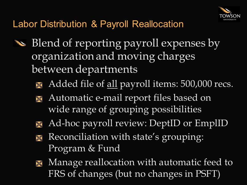Labor Distribution & Payroll Reallocation Blend of reporting payroll expenses by organization and moving charges between departments Ì Added file of all payroll items: 500,000 recs.