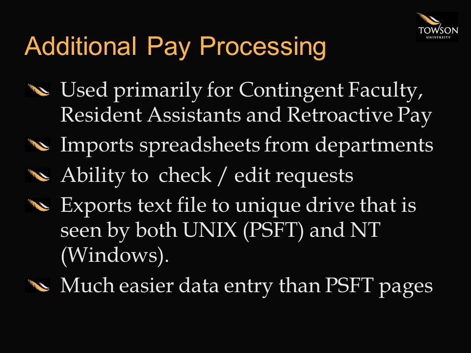 Additional Pay Processing Used primarily for Contingent Faculty, Resident Assistants and Retroactive Pay Imports spreadsheets from departments Ability to check / edit requests Exports text file to unique drive that is seen by both UNIX (PSFT) and NT (Windows).