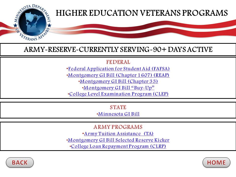 ARMY-RESERVE-CURRENTLY SERVING-90+ DAYS ACTIVE HIGHER EDUCATION VETERANS PROGRAMS