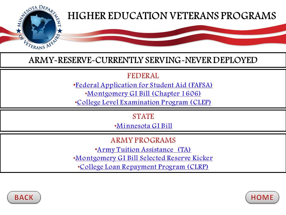 ARMY-RESERVE-CURRENTLY SERVING-NEVER DEPLOYED HIGHER EDUCATION VETERANS PROGRAMS