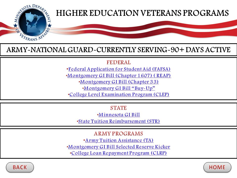ARMY-NATIONAL GUARD-CURRENTLY SERVING-90+ DAYS ACTIVE HIGHER EDUCATION VETERANS PROGRAMS