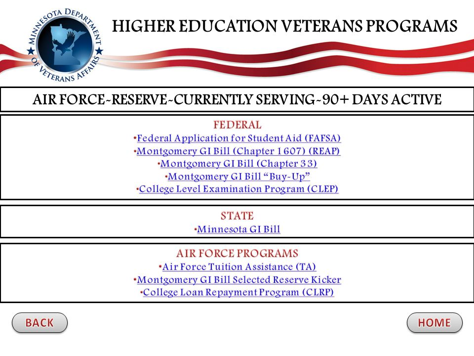 AIR FORCE-RESERVE-CURRENTLY SERVING-90+ DAYS ACTIVE HIGHER EDUCATION VETERANS PROGRAMS