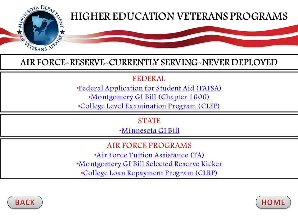 AIR FORCE-RESERVE-CURRENTLY SERVING-NEVER DEPLOYED HIGHER EDUCATION VETERANS PROGRAMS