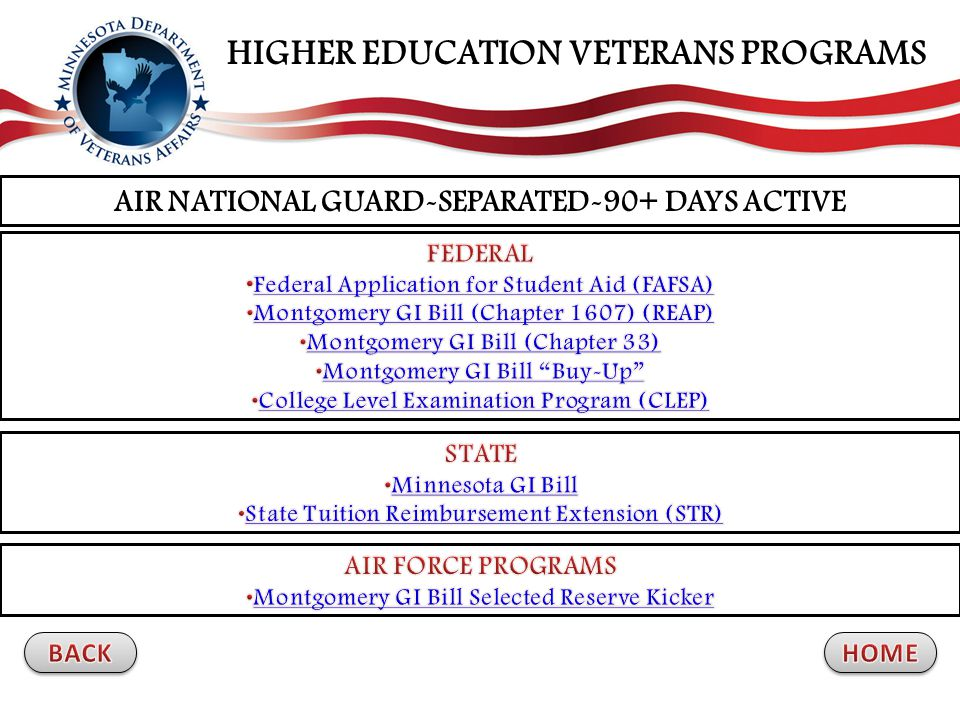 AIR NATIONAL GUARD-SEPARATED-90+ DAYS ACTIVE HIGHER EDUCATION VETERANS PROGRAMS