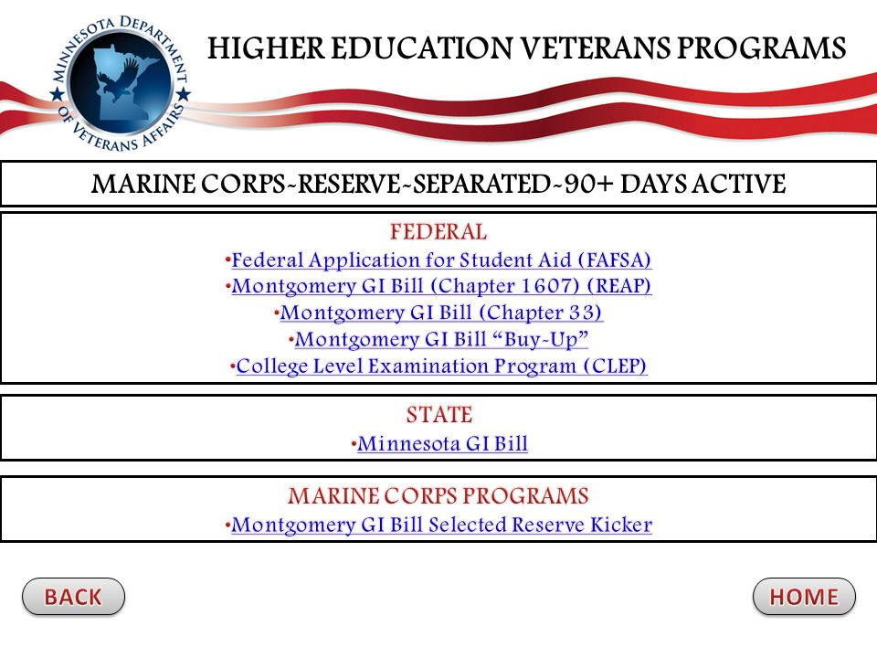 MARINE CORPS-RESERVE-SEPARATED-90+ DAYS ACTIVE HIGHER EDUCATION VETERANS PROGRAMS