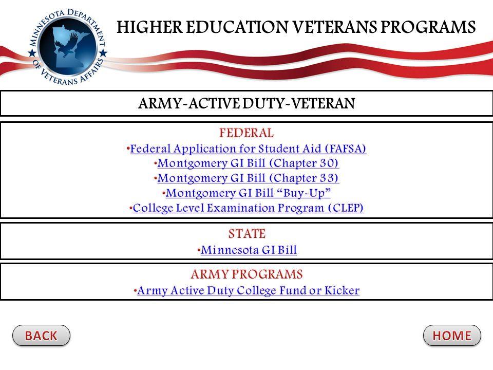 ARMY-ACTIVE DUTY-VETERAN HIGHER EDUCATION VETERANS PROGRAMS