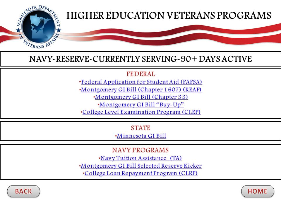 NAVY-RESERVE-CURRENTLY SERVING-90+ DAYS ACTIVE HIGHER EDUCATION VETERANS PROGRAMS