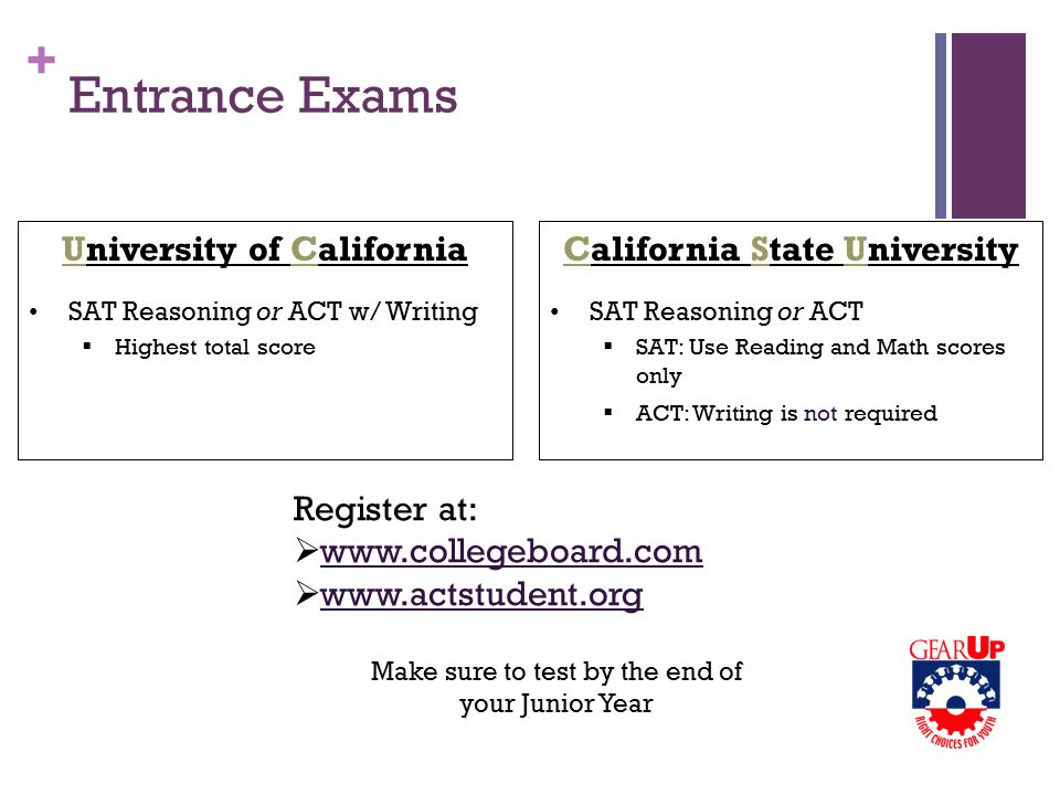 + Entrance Exams University of California SAT Reasoning or ACT w/ Writing  Highest total score California State University SAT Reasoning or ACT  SAT: Use Reading and Math scores only  ACT: Writing is not required Register at:  www.collegeboard.com  www.actstudent.org Make sure to test by the end of your Junior Year