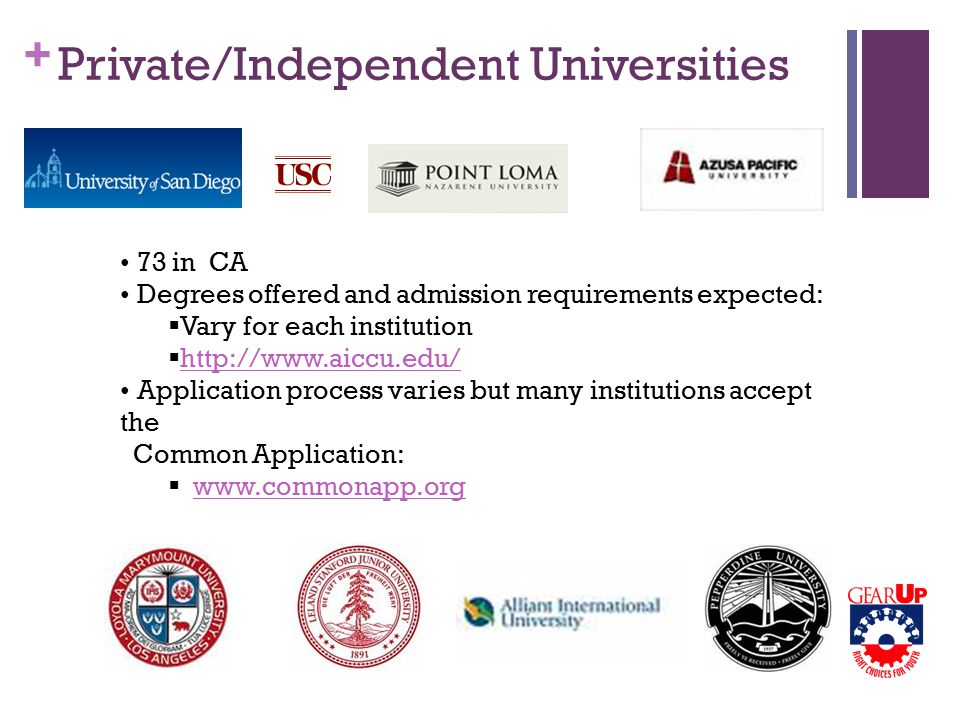 + Private/Independent Universities 73 in CA Degrees offered and admission requirements expected:  Vary for each institution  http://www.aiccu.edu/ http://www.aiccu.edu/ Application process varies but many institutions accept the Common Application:  www.commonapp.orgwww.commonapp.org