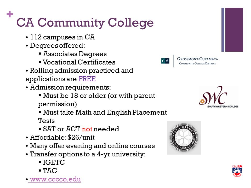 + CA Community College 112 campuses in CA Degrees offered:  Associates Degrees  Vocational Certificates Rolling admission practiced and applications are FREE Admission requirements:  Must be 18 or older (or with parent permission)  Must take Math and English Placement Tests  SAT or ACT not needed Affordable: $26/unit Many offer evening and online courses Transfer options to a 4-yr university:  IGETC  TAG www.cccco.edu