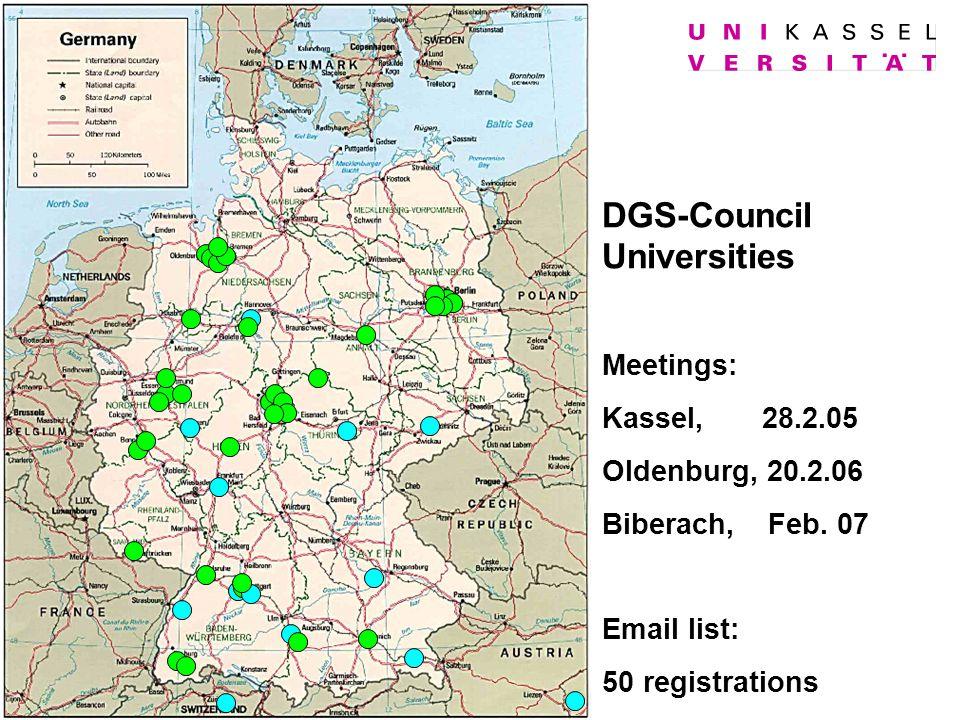 DGS-Council Universities Meetings: Kassel, 28.2.05 Oldenburg, 20.2.06 Biberach, Feb. 07 Email list: 50 registrations
