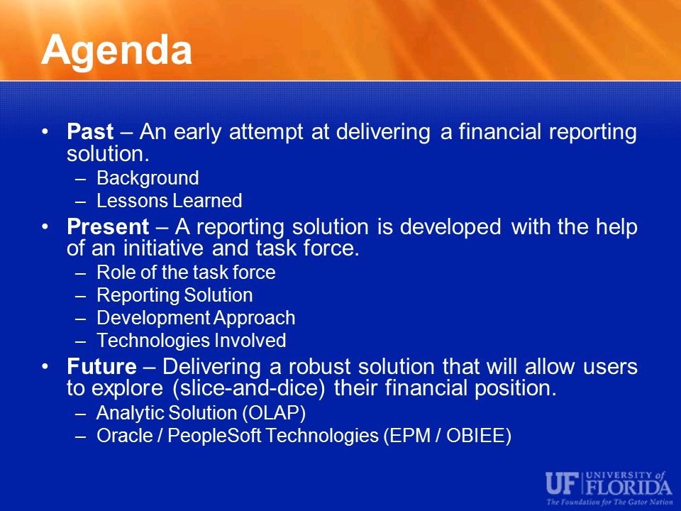 Agenda Past – An early attempt at delivering a financial reporting solution.