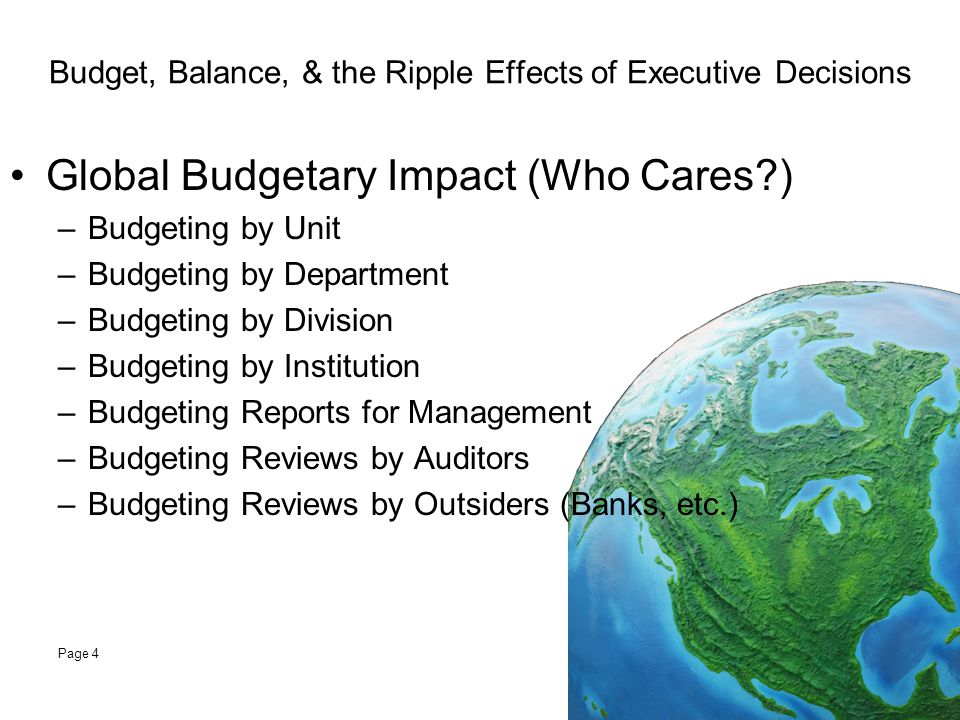 Budget, Balance, & the Ripple Effects of Executive Decisions Institutional Budget Practices –State Versus Private –Centralized Versus Decentralized –Operating (Current Budget) Funding for Personnel Funding for Operations Funding for Equipment –Capital (Long Term) Buildings and Land Acquisitions Other Page 5