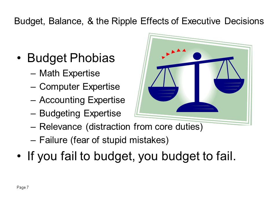 Budget, Balance, & the Ripple Effects of Executive Decisions Budget Phobias –Math Expertise –Computer Expertise –Accounting Expertise –Budgeting Expertise –Relevance (distraction from core duties) –Failure (fear of stupid mistakes) If you fail to budget, you budget to fail.