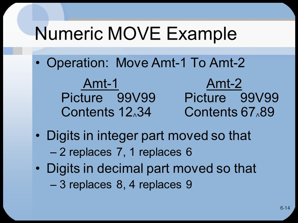 6-14 Numeric MOVE Example Operation: Move Amt-1 To Amt-2 Amt-1 Amt-2 Picture 99V99Picture 99V99 Contents 12 ^ 34Contents 67 ^ 89 Digits in integer par