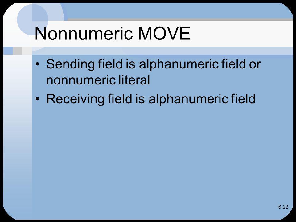 6-22 Nonnumeric MOVE Sending field is alphanumeric field or nonnumeric literal Receiving field is alphanumeric field