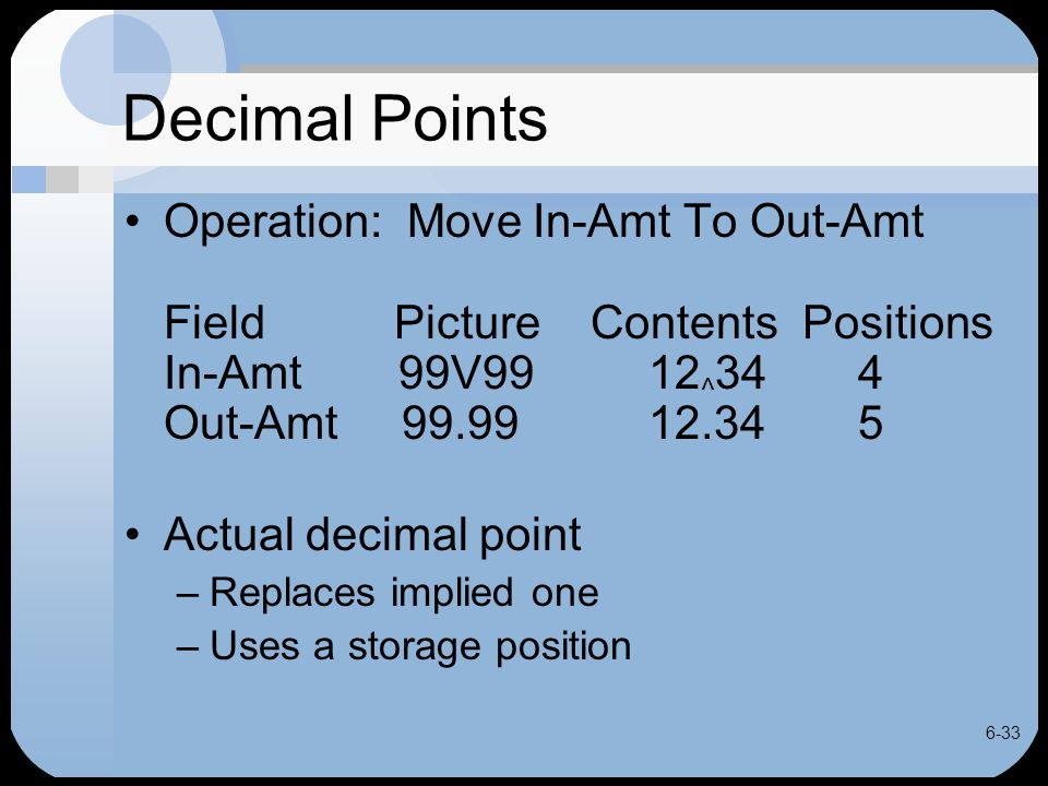 6-33 Decimal Points Operation: Move In-Amt To Out-Amt Field Picture Contents Positions In-Amt 99V9912 ^ 344 Out-Amt 99.9912.345 Actual decimal point –