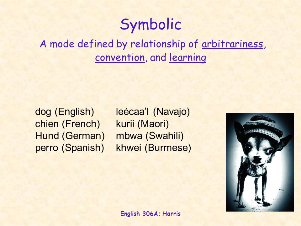 English 306A; Harris Symbolic A mode defined by relationship of arbitrariness, convention, and learning dog (English) chien (French) Hund (German) perro (Spanish) leécaa'l (Navajo) kurii (Maori) mbwa (Swahili) khwei (Burmese)