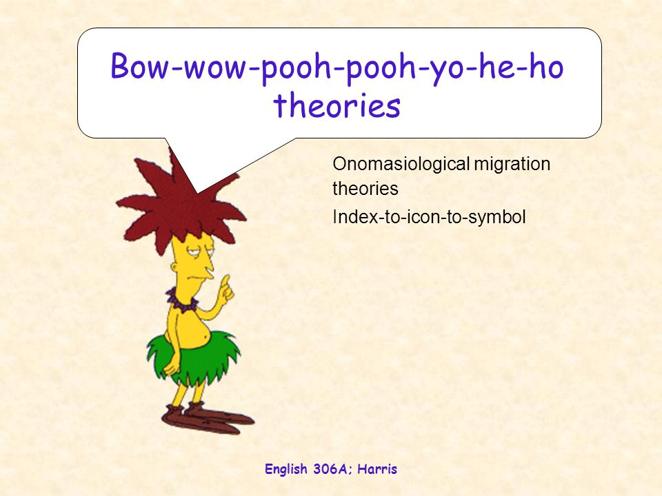 English 306A; Harris Onomasiological migration theories Index-to-icon-to-symbol Bow-wow-pooh-pooh-yo-he-ho theories