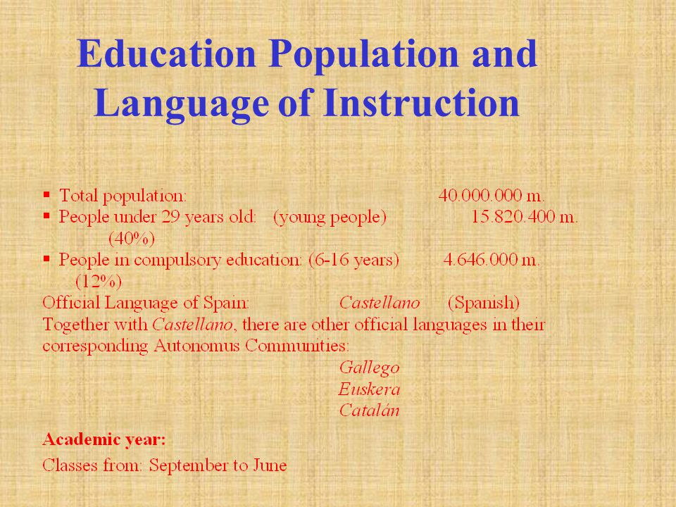 Education Population and Language of Instruction