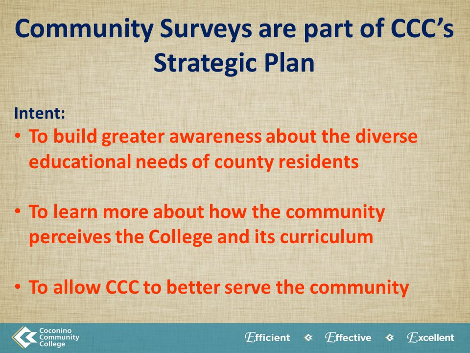 Community Surveys are part of CCC's Strategic Plan Intent: To build greater awareness about the diverse educational needs of county residents To learn more about how the community perceives the College and its curriculum To allow CCC to better serve the community