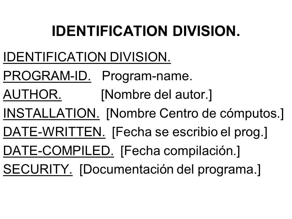 IDENTIFICATION DIVISION. PROGRAM-ID. Program-name.