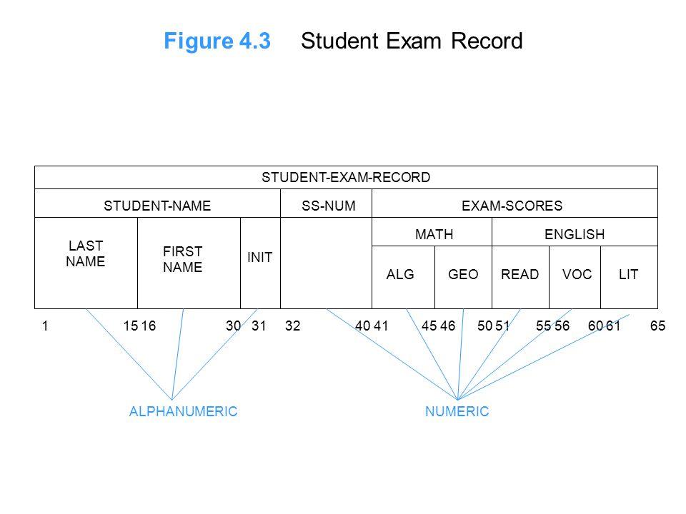 Figure 4.3Student Exam Record STUDENT-EXAM-RECORD STUDENT-NAMEEXAM-SCORESSS-NUM LAST NAME FIRST NAME INIT MATHENGLISH ALGGEOREADVOCLIT 1 15 16 30 31 32 40 41 45 46 50 51 55 56 60 61 65 ALPHANUMERICNUMERIC