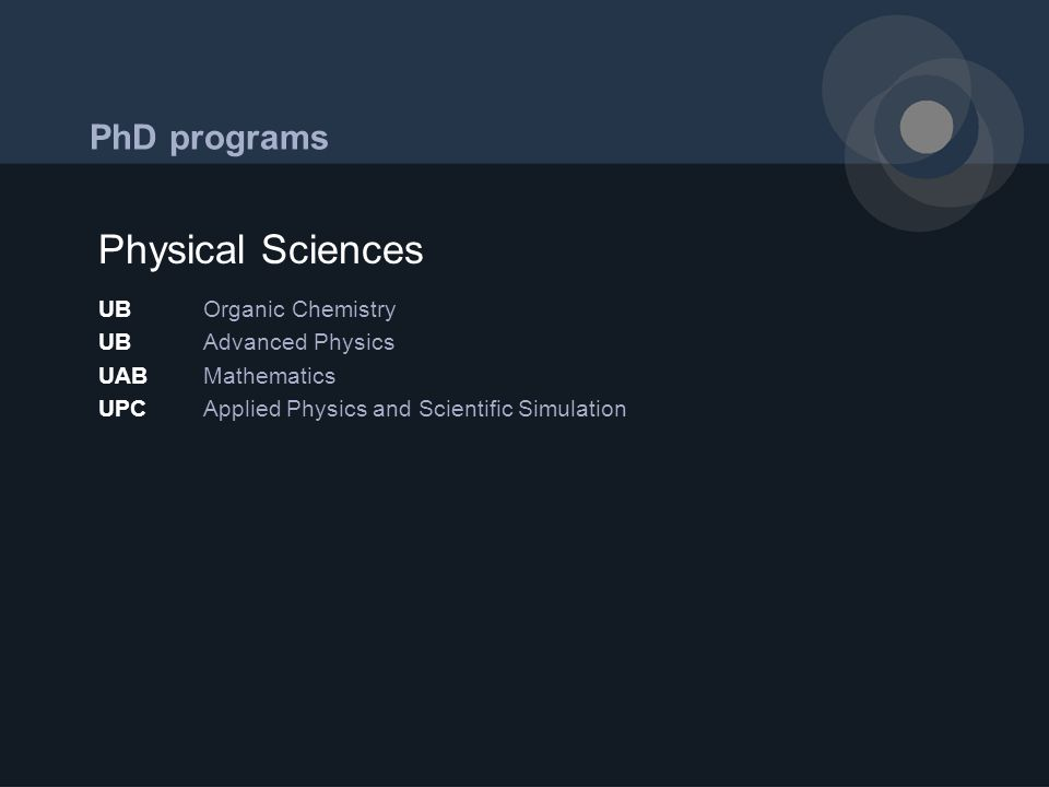 PhD programs UBOrganic Chemistry UBAdvanced Physics UABMathematics UPCApplied Physics and Scientific Simulation Physical Sciences