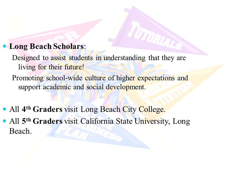 AVID Population Targets Long Beach Scholars: Designed to assist students in understanding that they are living for their future! Promoting school-wide