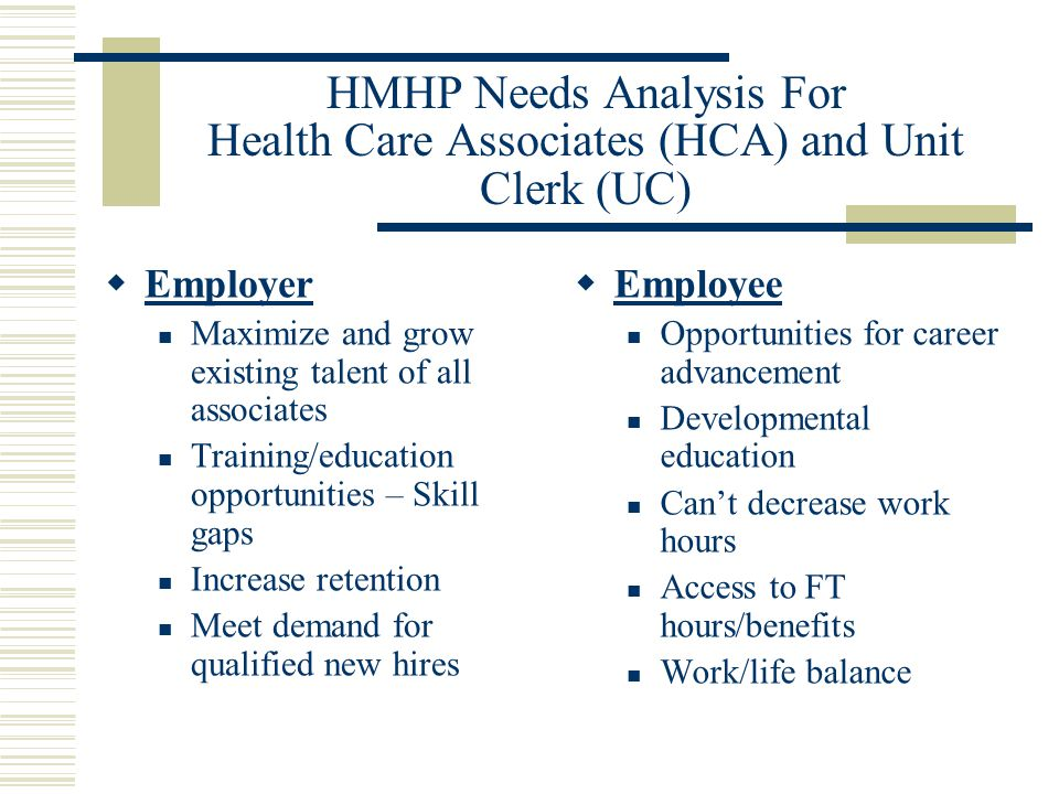 HMHP Needs Analysis For Health Care Associates (HCA) and Unit Clerk (UC)  Employer Maximize and grow existing talent of all associates Training/education opportunities – Skill gaps Increase retention Meet demand for qualified new hires  Employee Opportunities for career advancement Developmental education Can't decrease work hours Access to FT hours/benefits Work/life balance