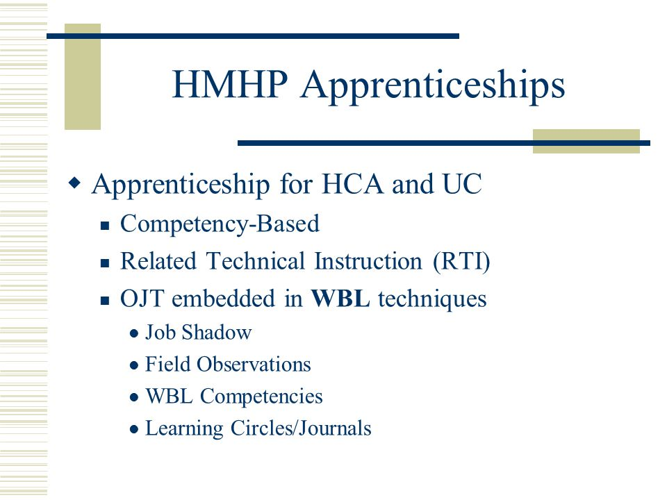 HMHP Apprenticeships  Apprenticeship for HCA and UC Competency-Based Related Technical Instruction (RTI) OJT embedded in WBL techniques Job Shadow Field Observations WBL Competencies Learning Circles/Journals