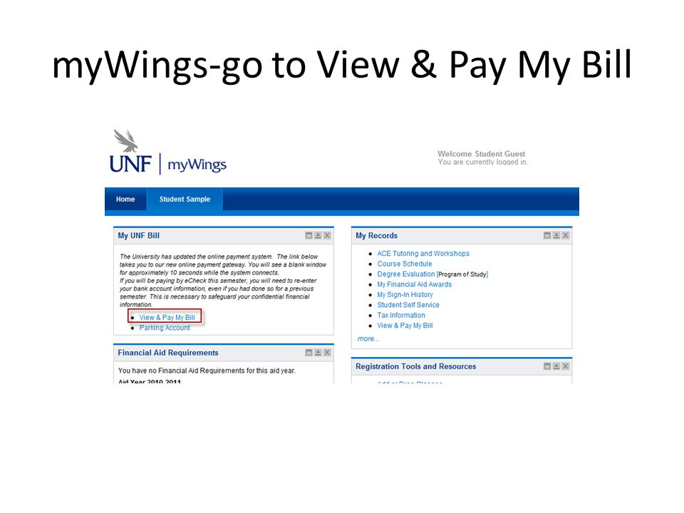 myWings To complete a Financial Aid Authorization Form To opt-out of Florida Prepaid To submit a Fee Petition
