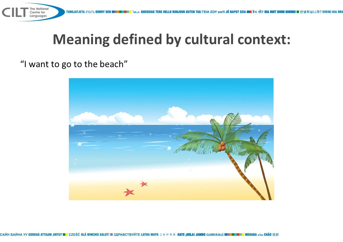 Meaning defined by cultural context: I want to go to the beach