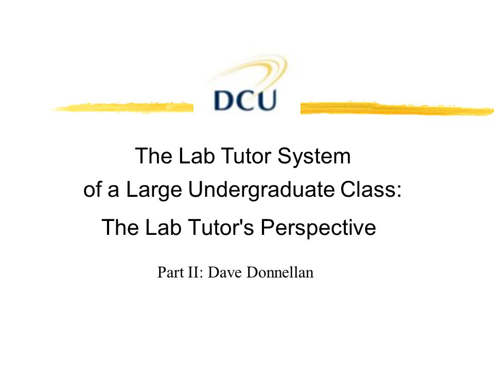 Part II: Dave Donnellan The Lab Tutor's Perspective The Lab Tutor System of a Large Undergraduate Class: