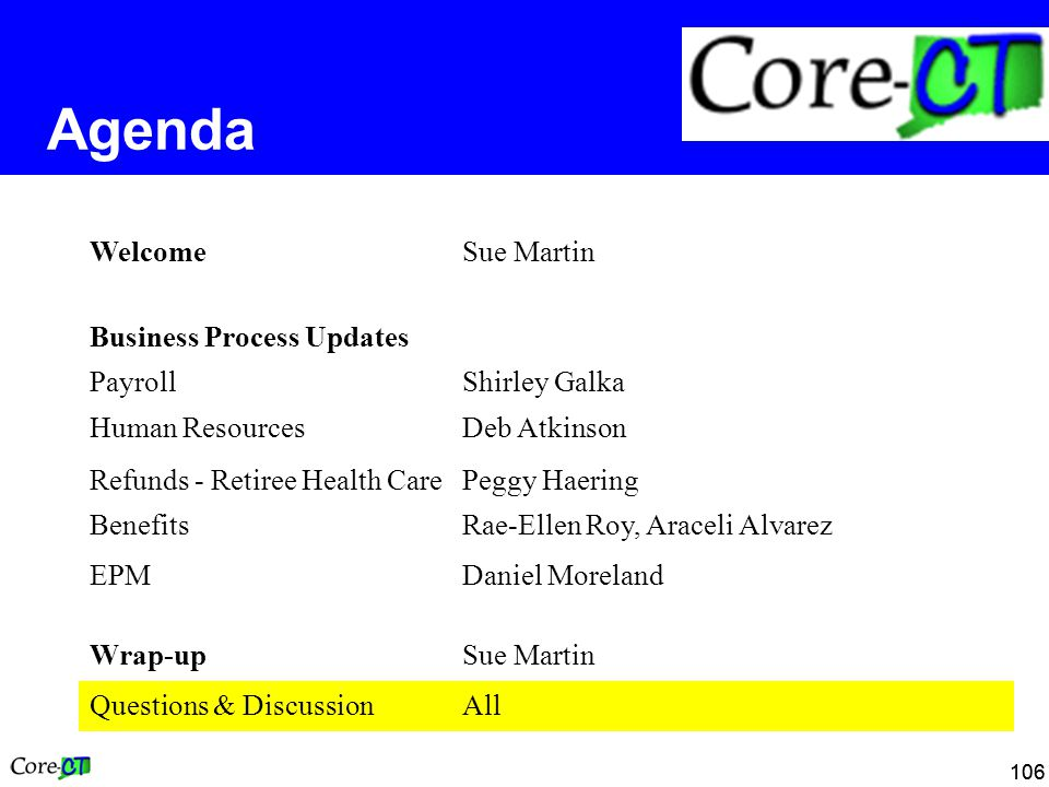 106 Agenda WelcomeSue Martin Business Process Updates PayrollShirley Galka Human ResourcesDeb Atkinson Refunds - Retiree Health CarePeggy Haering BenefitsRae-Ellen Roy, Araceli Alvarez EPMDaniel Moreland Wrap-upSue Martin Questions & DiscussionAll