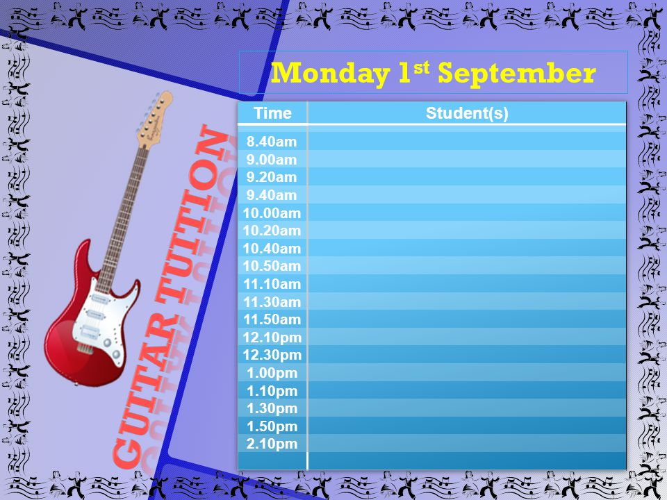 Monday 1 st September