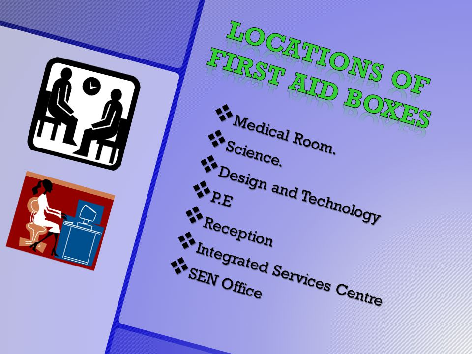  Medical Room.  Science.  Design and Technology  P.E  Reception  Integrated Services Centre  SEN Office