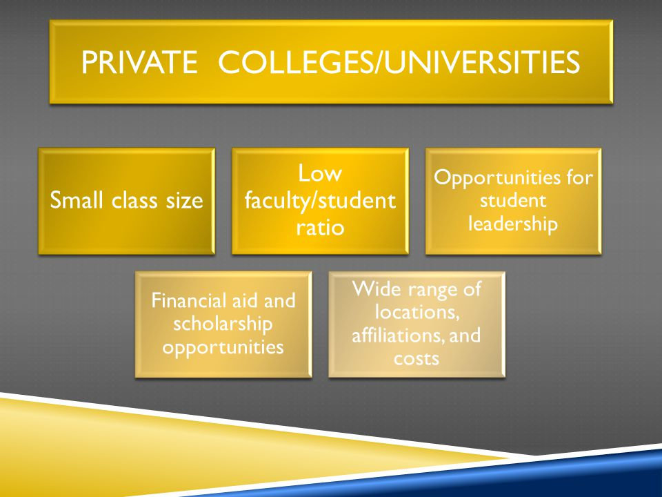PRIVATE COLLEGES/UNIVERSITIES Small class size Low faculty/student ratio Opportunities for student leadership Financial aid and scholarship opportunities Wide range of locations, affiliations, and costs