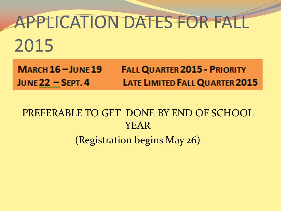 APPLICATION DATES FOR FALL 2015 PREFERABLE TO GET DONE BY END OF SCHOOL YEAR (Registration begins May 26)