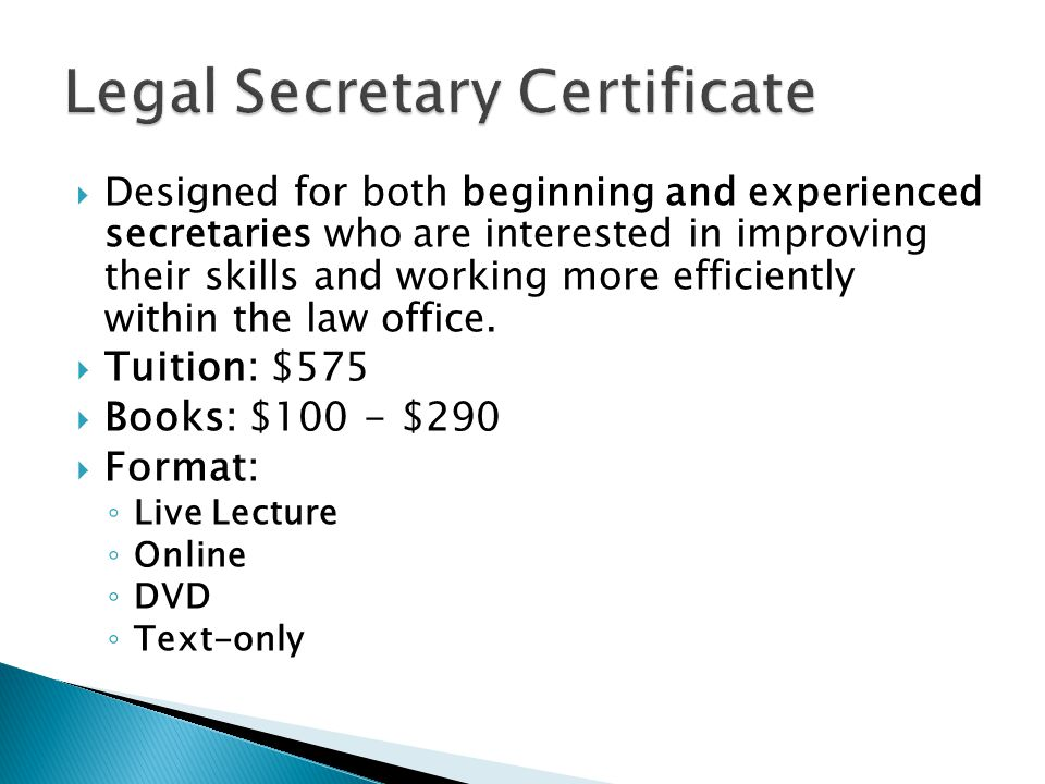 Designed for both beginning and experienced secretaries who are interested in improving their skills and working more efficiently within the law off