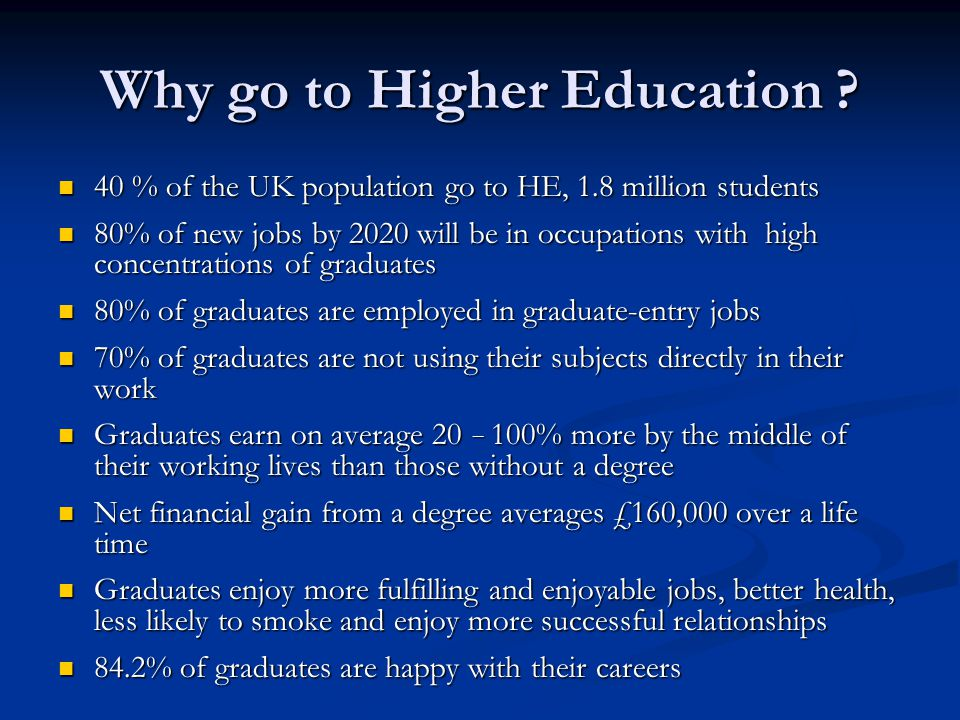 Why go to Higher Education ? 40 % of the UK population go to HE, 1.8 million students 40 % of the UK population go to HE, 1.8 million students 80% of