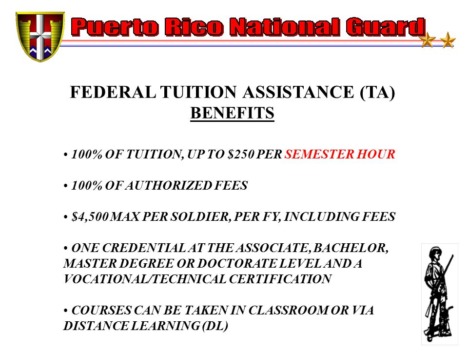 FEDERAL TUITION ASSISTANCE (TA) BENEFITS 100% OF TUITION, UP TO $250 PER SEMESTER HOUR 100% OF AUTHORIZED FEES $4,500 MAX PER SOLDIER, PER FY, INCLUDING FEES ONE CREDENTIAL AT THE ASSOCIATE, BACHELOR, MASTER DEGREE OR DOCTORATE LEVEL AND A VOCATIONAL/TECHNICAL CERTIFICATION COURSES CAN BE TAKEN IN CLASSROOM OR VIA DISTANCE LEARNING (DL)