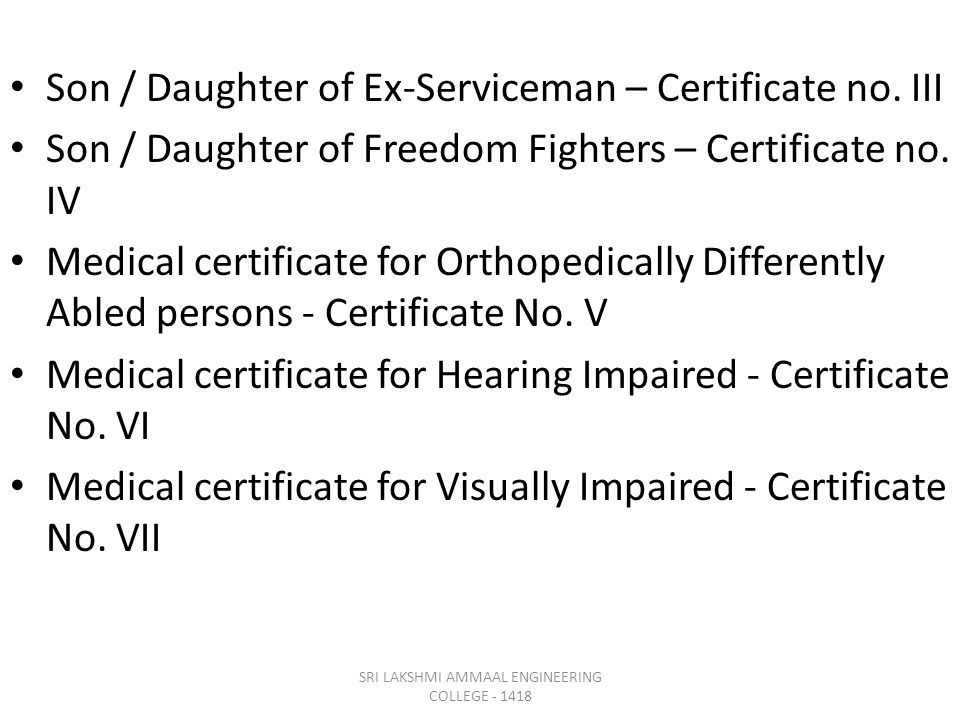 Son / Daughter of Ex-Serviceman – Certificate no.