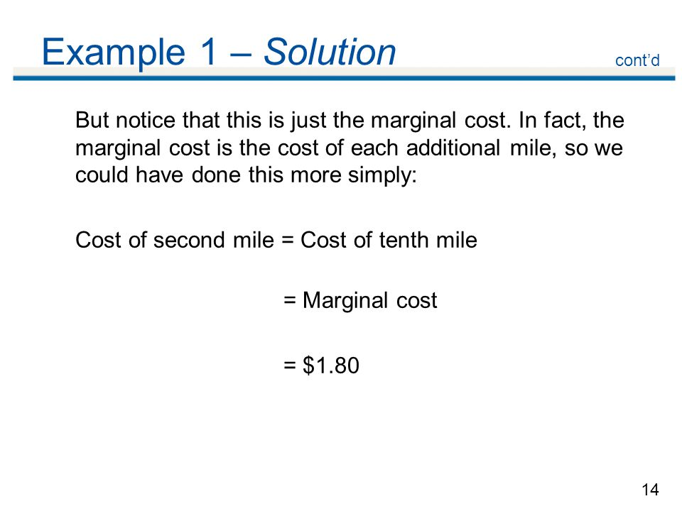 14 Example 1 – Solution But notice that this is just the marginal cost.