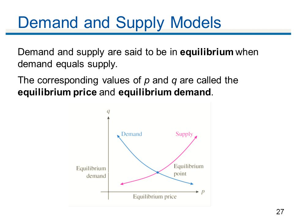 27 Demand and Supply Models Demand and supply are said to be in equilibrium when demand equals supply.