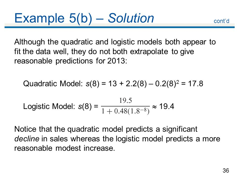 36 Example 5(b) – Solution Although the quadratic and logistic models both appear to fit the data well, they do not both extrapolate to give reasonable predictions for 2013: Quadratic Model: s(8) = 13 + 2.2(8) – 0.2(8) 2 = 17.8 Logistic Model: s(8) =  19.4 Notice that the quadratic model predicts a significant decline in sales whereas the logistic model predicts a more reasonable modest increase.