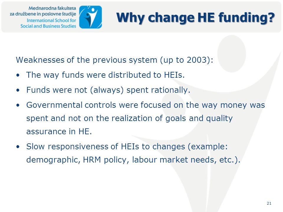 21 Why change HE funding.