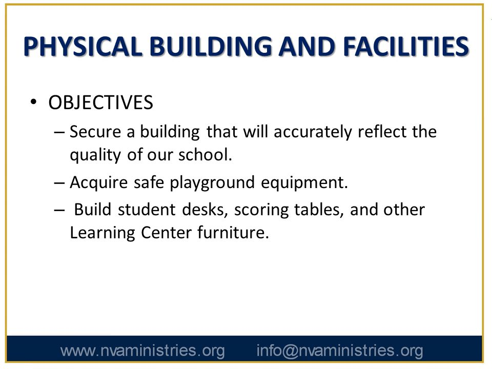 PHYSICAL BUILDING AND FACILITIES OBJECTIVES – Secure a building that will accurately reflect the quality of our school.