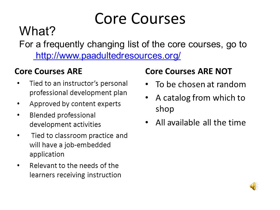 Core Courses Who.